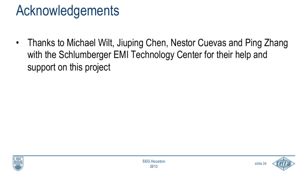 slide 34 SEG Houston 2013 • Thanks to Michael ...