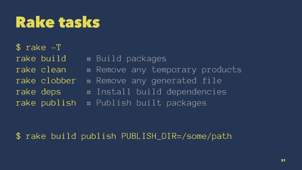 Rake tasks $ rake -T rake build # Build package...