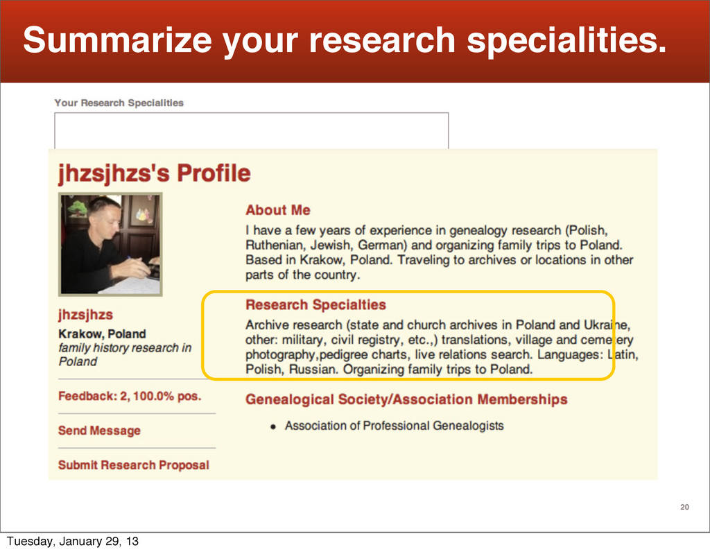 20 Summarize your research specialities. Tuesda...