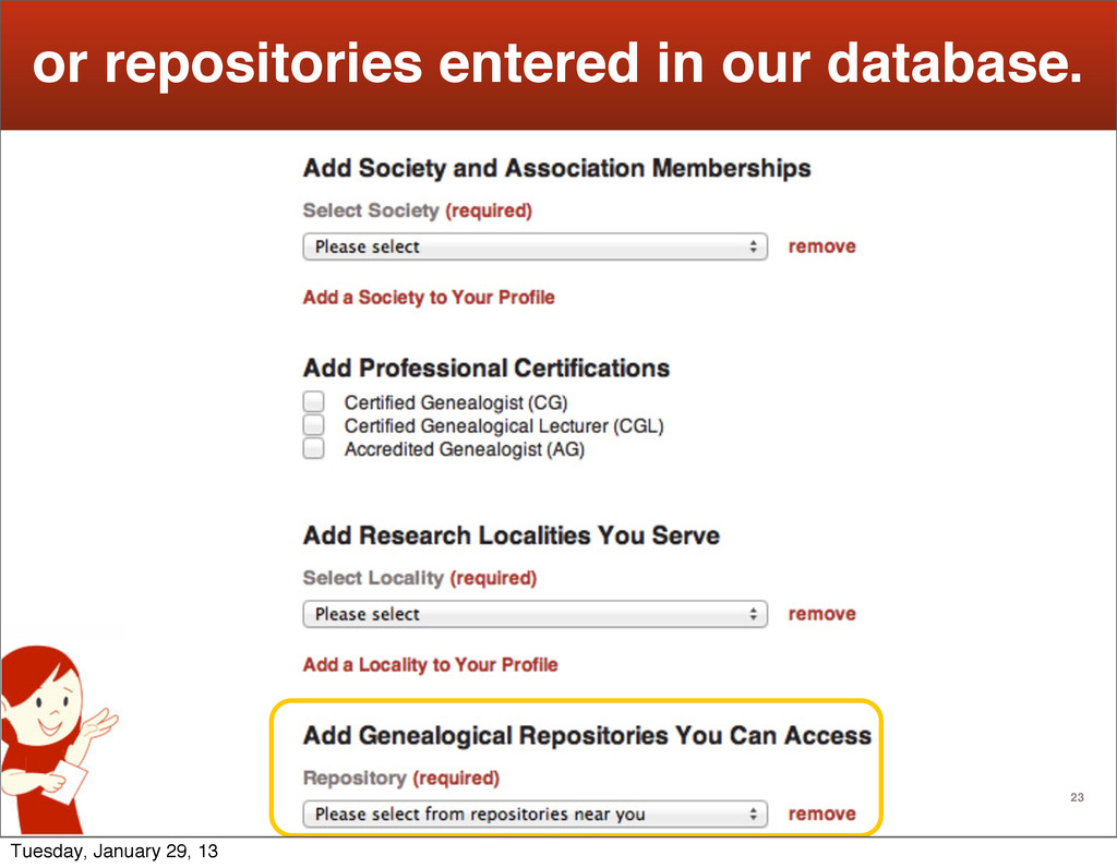 23 or repositories entered in our database. Tue...