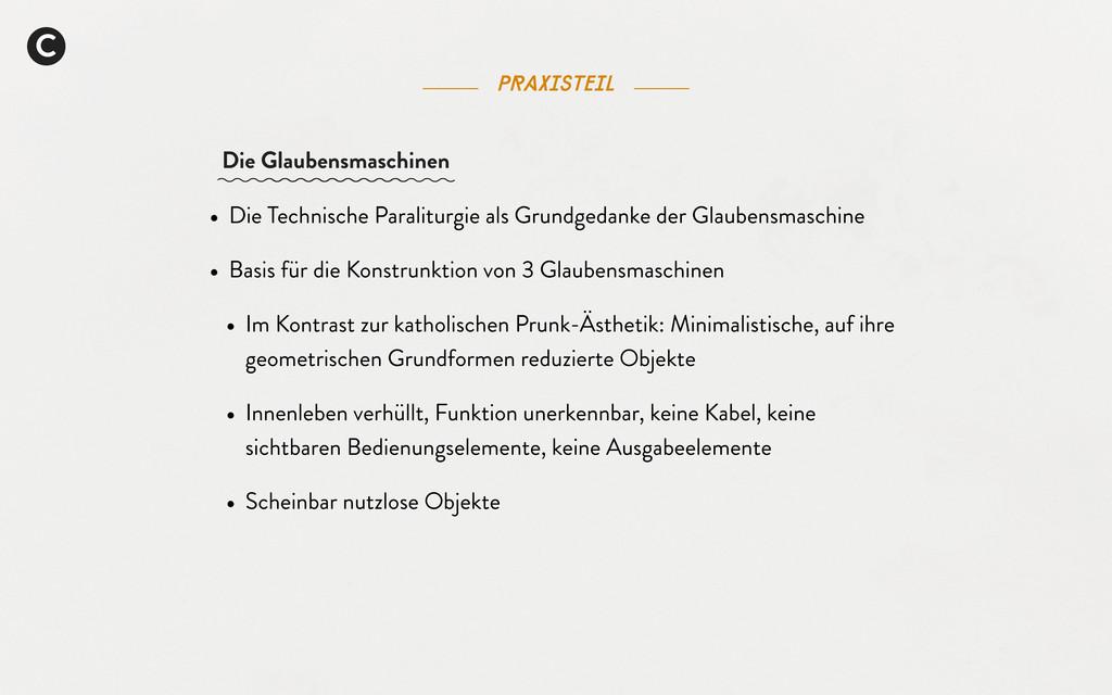 Praxisteil C • Die Technische Paraliturgie als ...