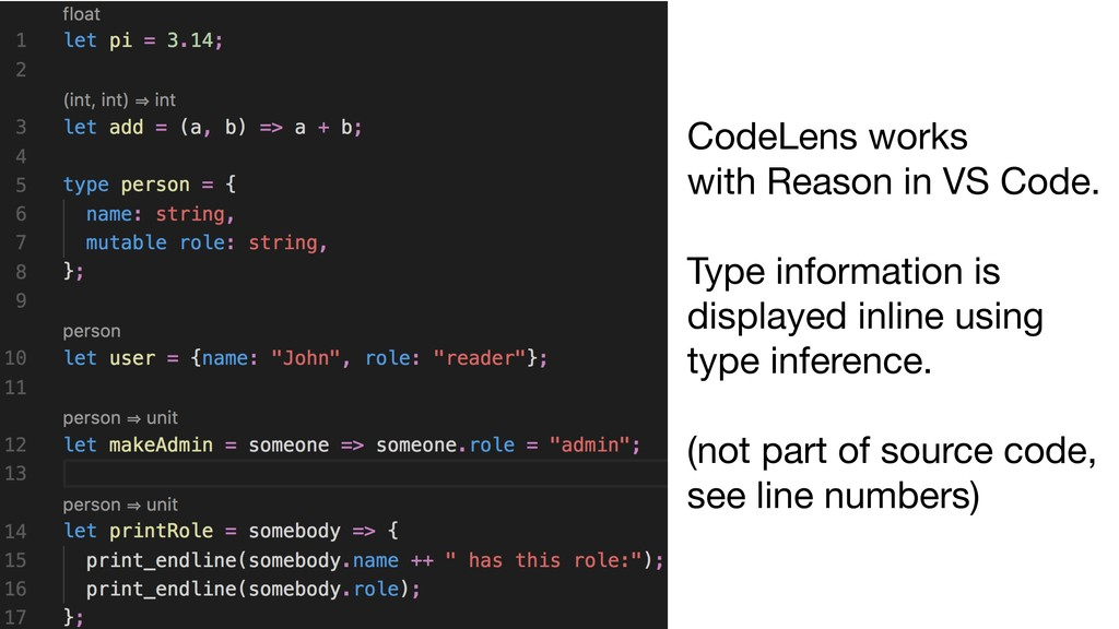 CodeLens works  with Reason in VS Code.  Type i...