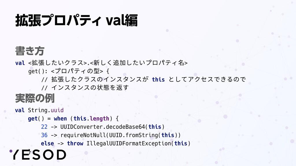 拡張プロパティ val編 val <拡張したいクラス>.<新しく追加したいプロパティ名>   ...