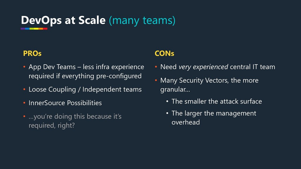 PROs • App Dev Teams – less infra experience re...
