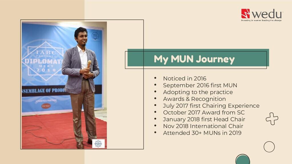 My MUN Journey • Noticed in 2016 • September 20...