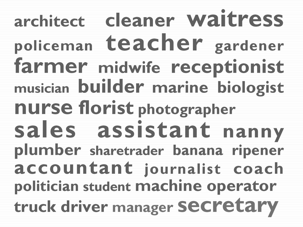 architect cleaner waitress policeman teacher ga...