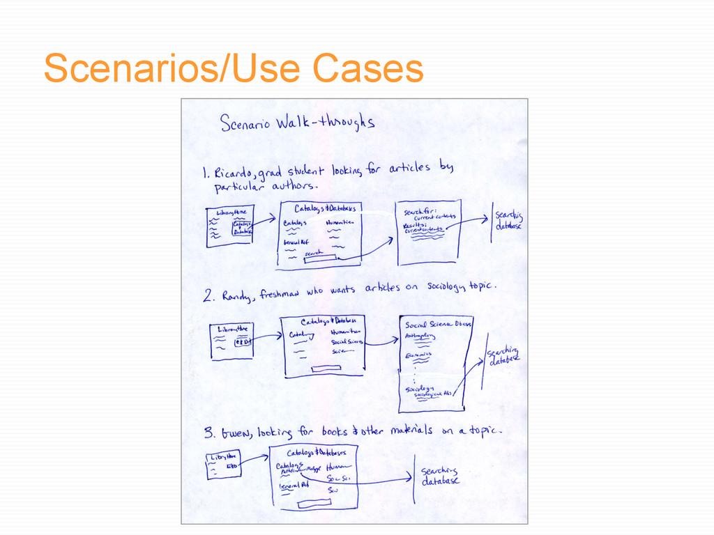 Scenarios/Use Cases