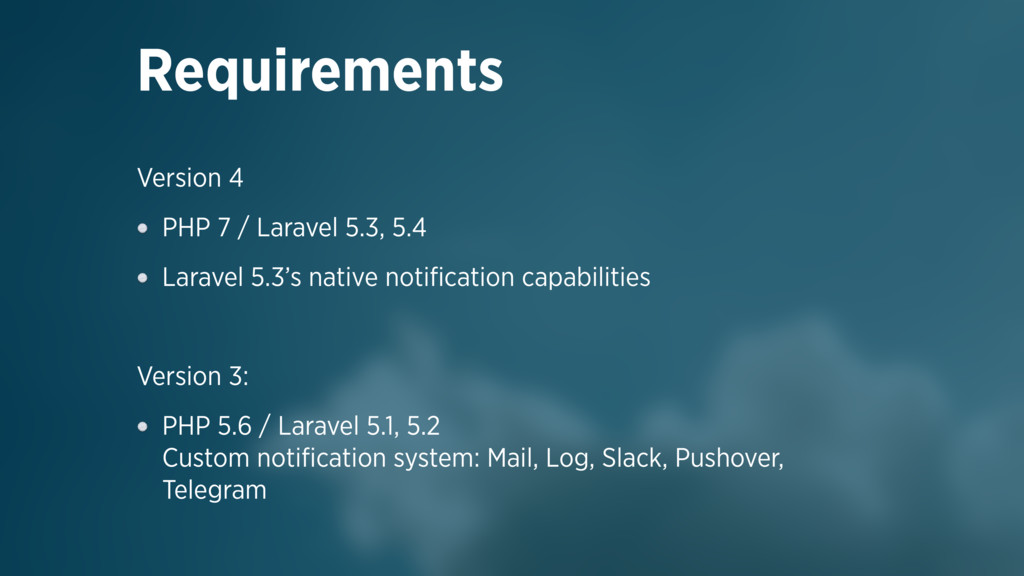 Version 4 PHP 7 / Laravel 5.3, 5.4 Laravel 5.3'...