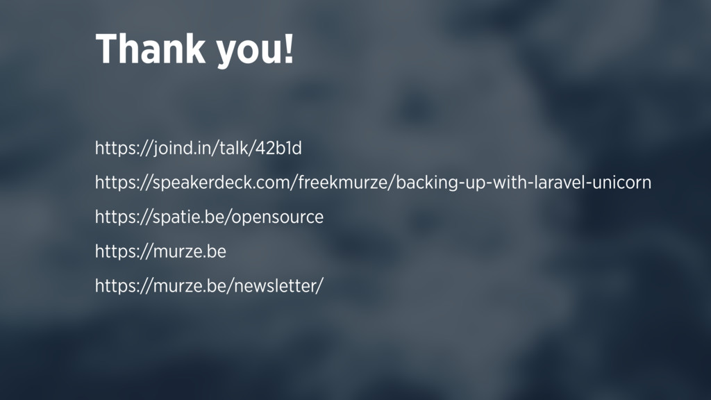 Thank you! https://joind.in/talk/42b1d https://...