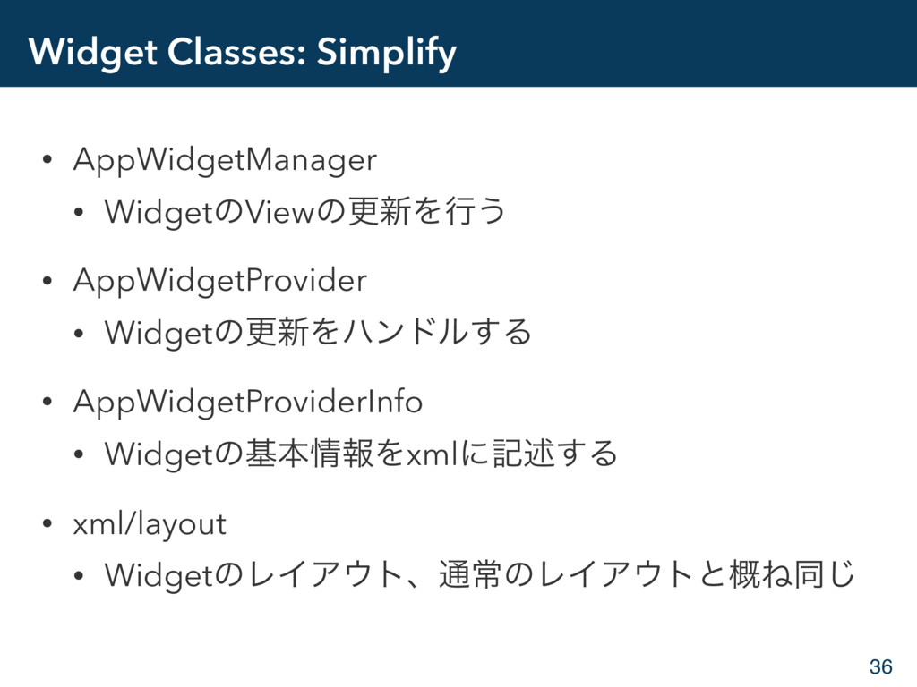 Widget Classes: Simplify • AppWidgetManager • W...