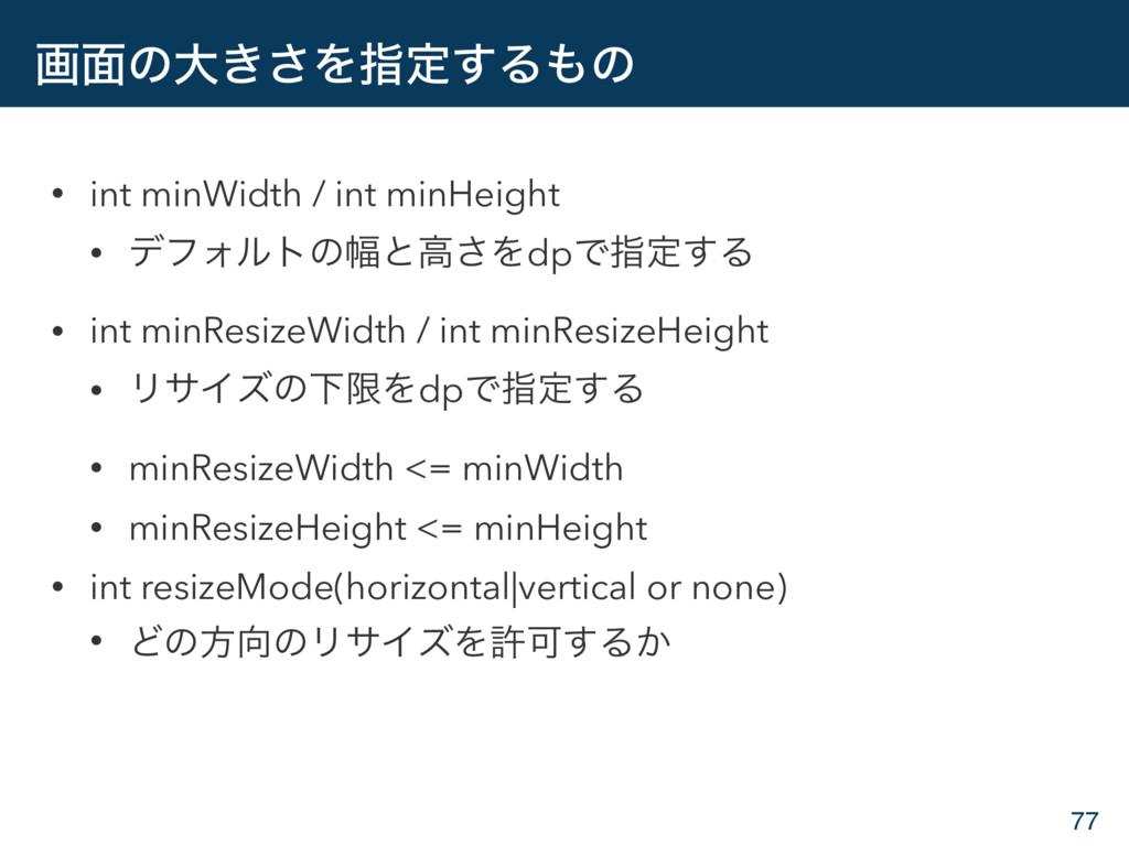 ը໘ͷେ͖͞Λࢦఆ͢Δͷ • int minWidth / int minHeight • ...
