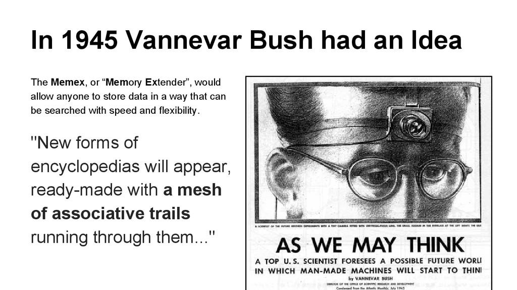In 1945 Vannevar Bush had an Idea The Memex, or...