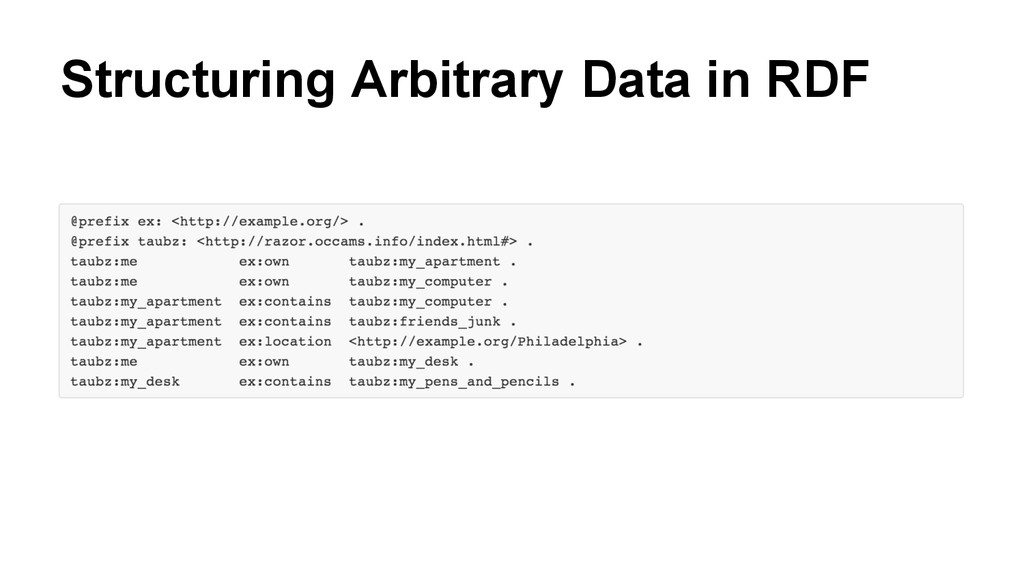 Structuring Arbitrary Data in RDF