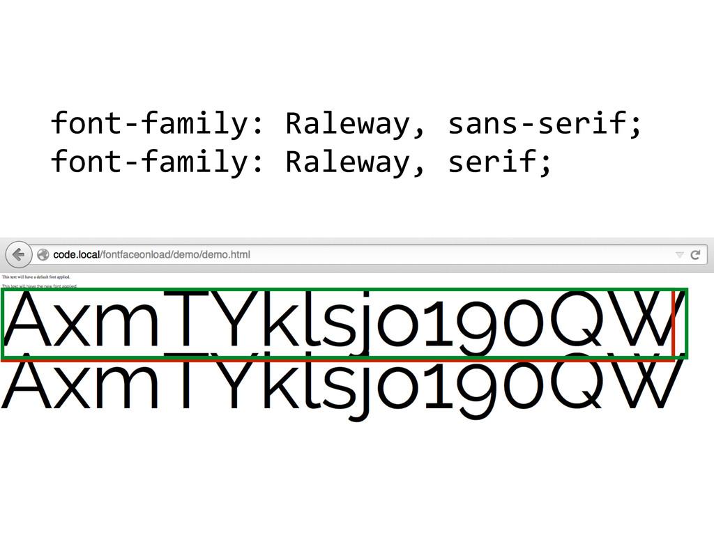 font-‐family: Raleway, sans-‐serif; ...