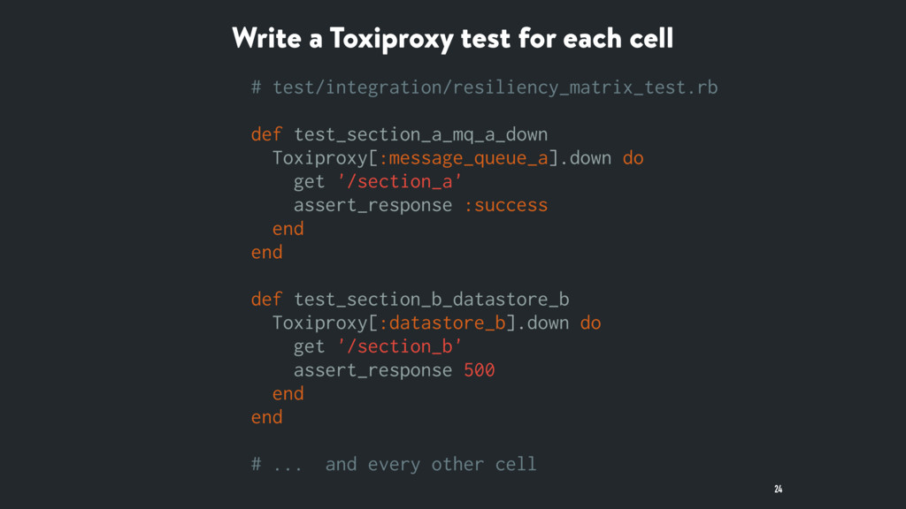 Write a Toxiproxy test for each cell 24 # test/...