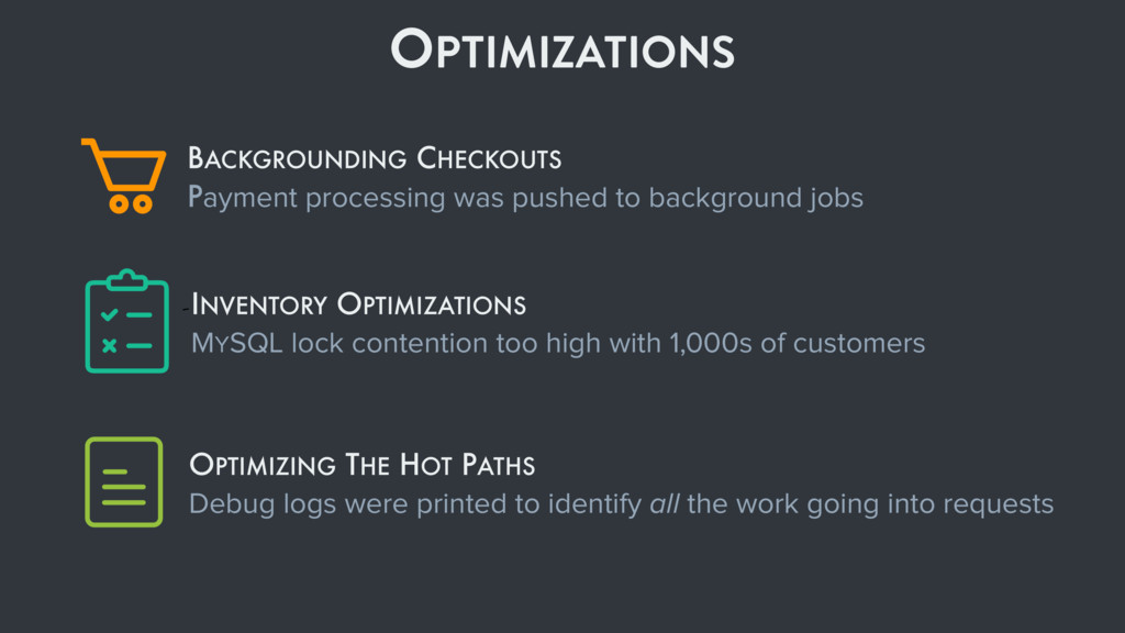 OPTIMIZATIONS OPTIMIZING THE HOT PATHS Debug lo...