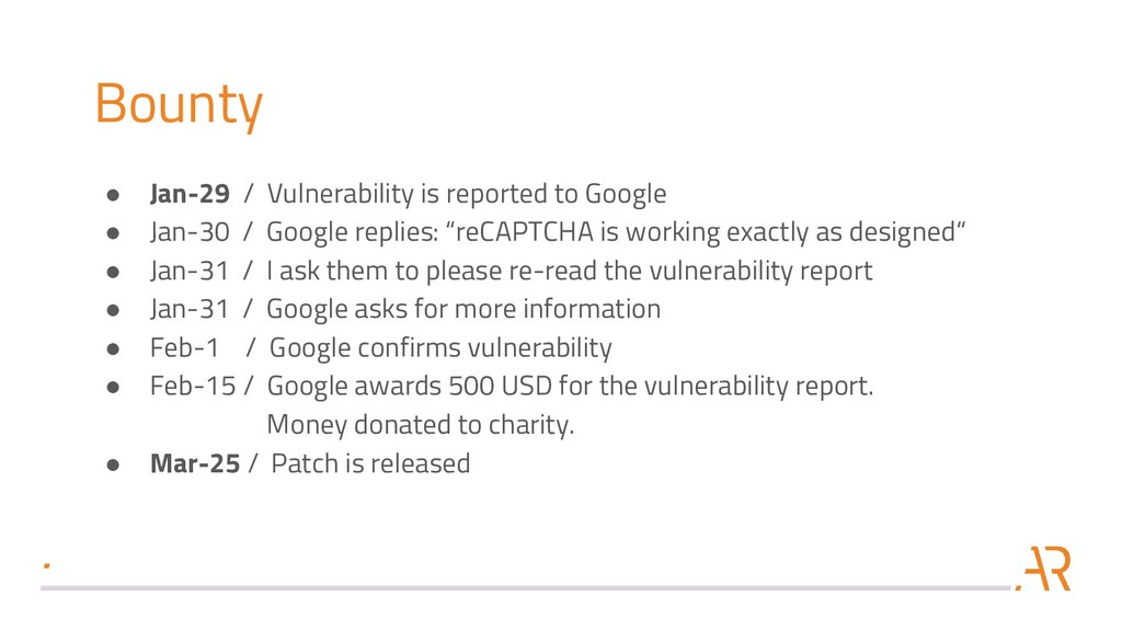 Bounty ● Jan-29 / Vulnerability is reported to ...