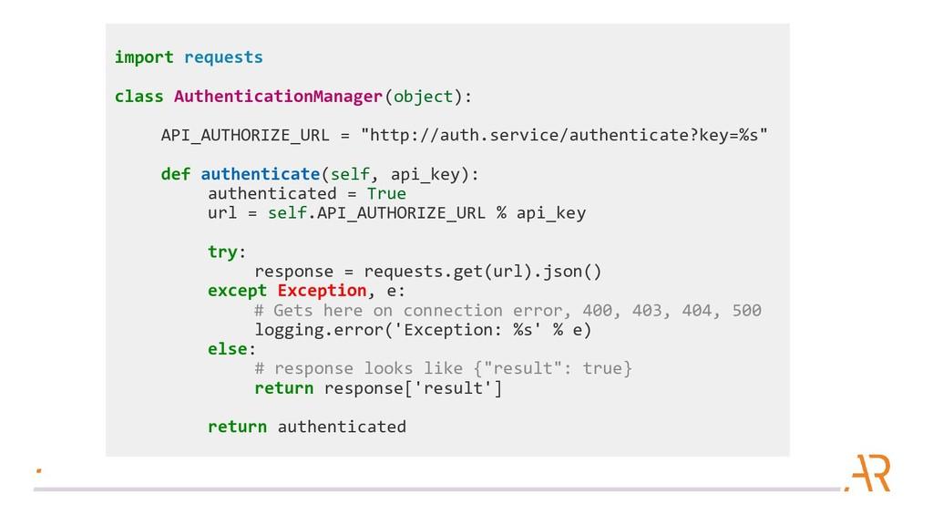 import requests class AuthenticationManager(obj...
