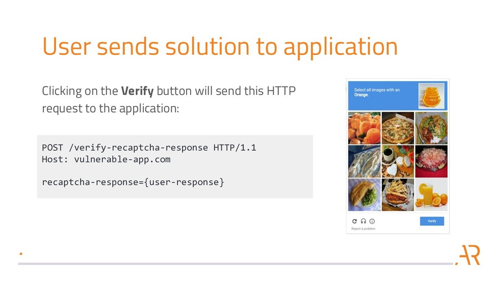 User sends solution to application Clicking on ...