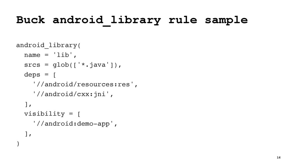 Buck android_library rule sample android_librar...