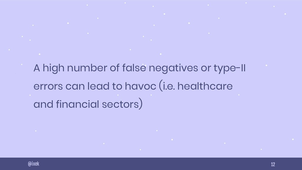 12 A high number of false negatives or type-II ...
