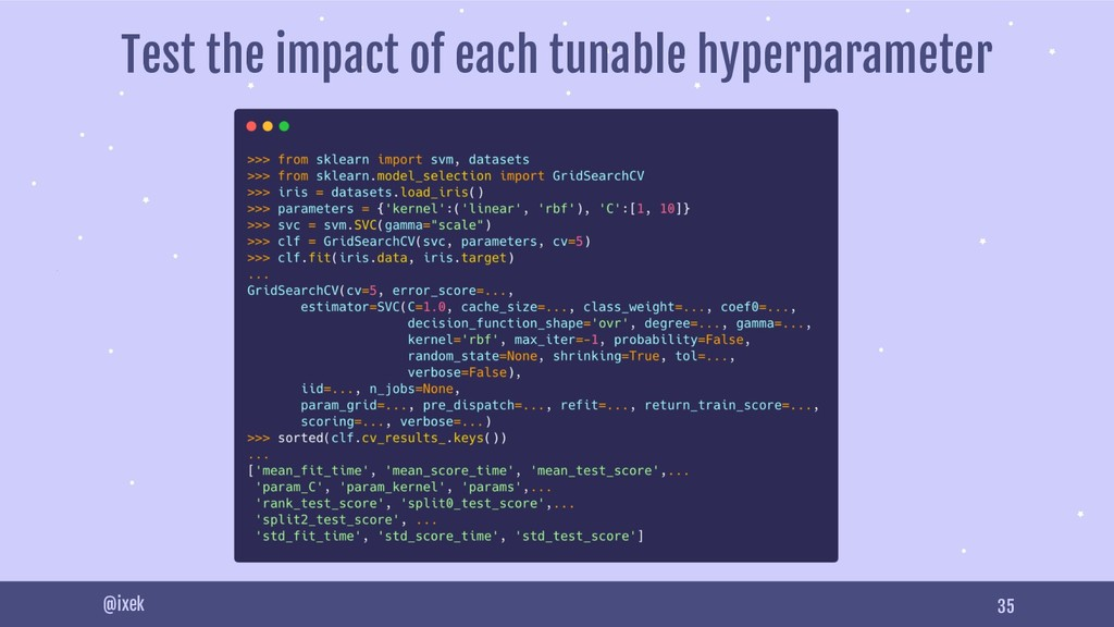35 @ixek Test the impact of each tunable hyperp...