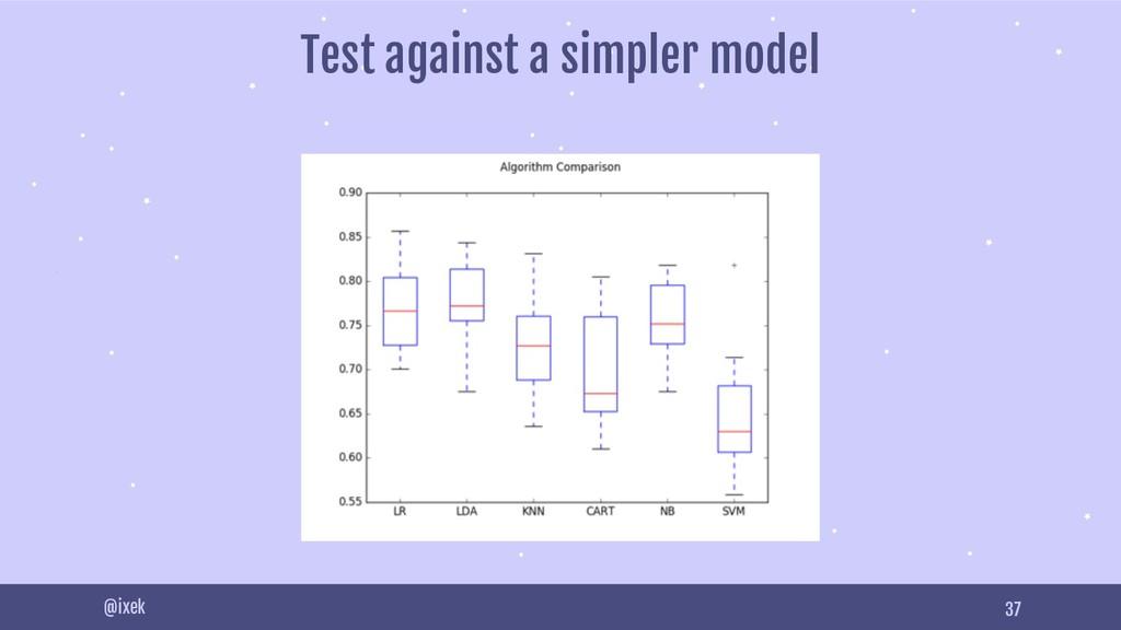 37 @ixek Test against a simpler model