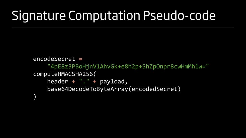 Signature Computation Pseudo-code encodeSecret ...