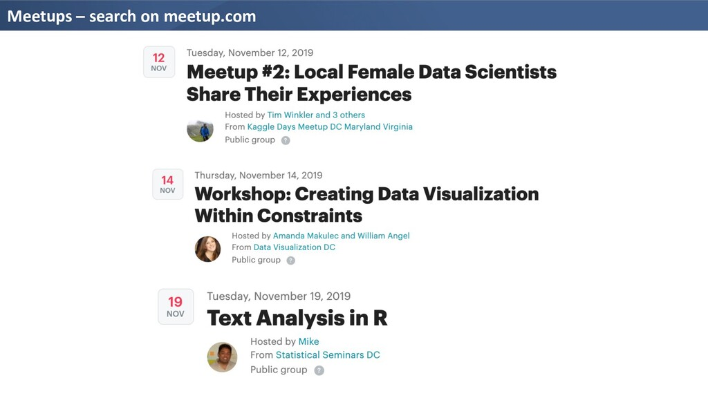 Meetups – search on meetup.com