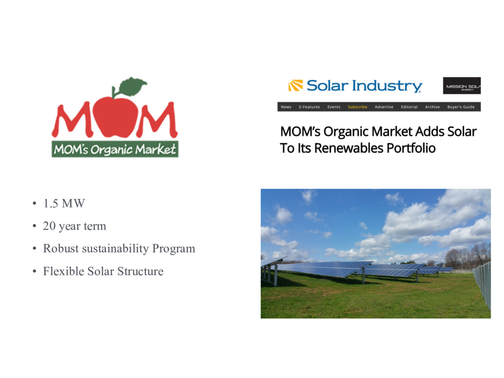 Case study – offsite solar • 1.5 MW • 20 year t...
