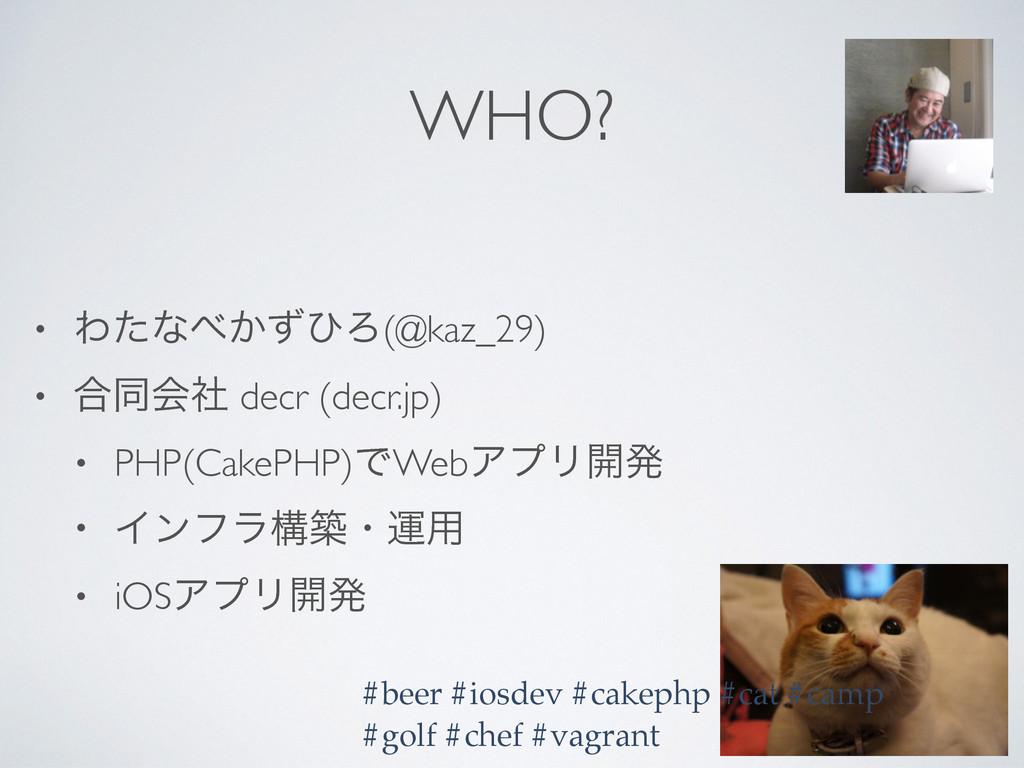 WHO? • Θͨͳ͔ͣͻΖ(@kaz_29) • ߹ಉձࣾ decr (decr.jp) ...