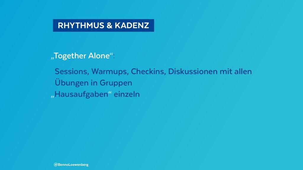 "RHYTHMUS & KADENZ ""Together Alone"": Sessions..."