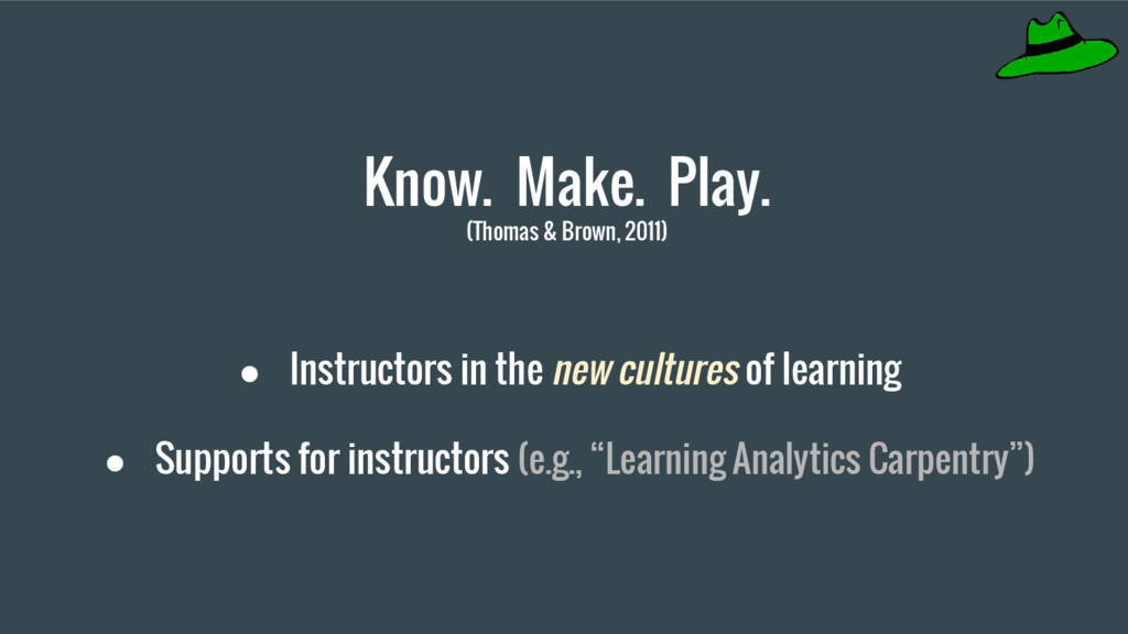 Know. Make. Play. (Thomas & Brown, 2011) ● Inst...