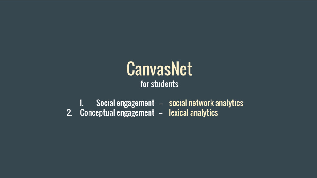 CanvasNet for students 1. Social engagement -- ...