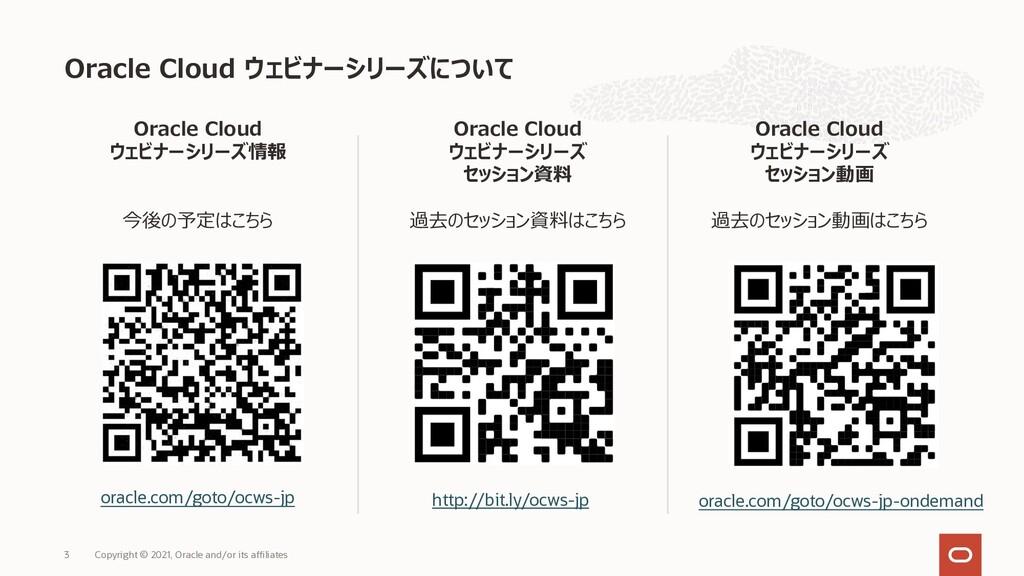 Oracle Cloud ウェビナーシリーズについて Copyright © 2021, Or...