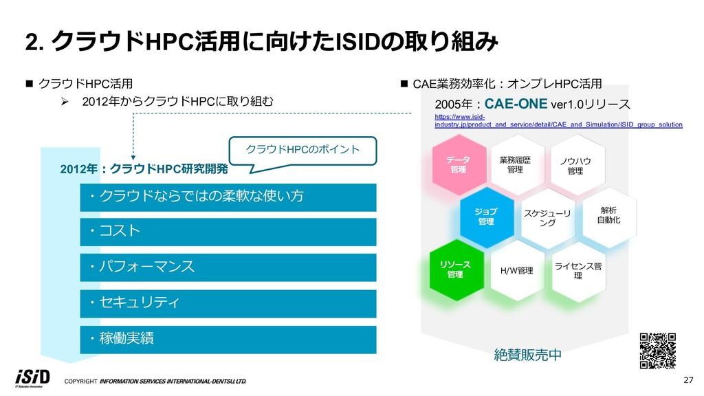 ・クラウドならではの柔軟な使い⽅ クラウドHPCのポイント ・コスト ・パフォーマンス ・セキ...