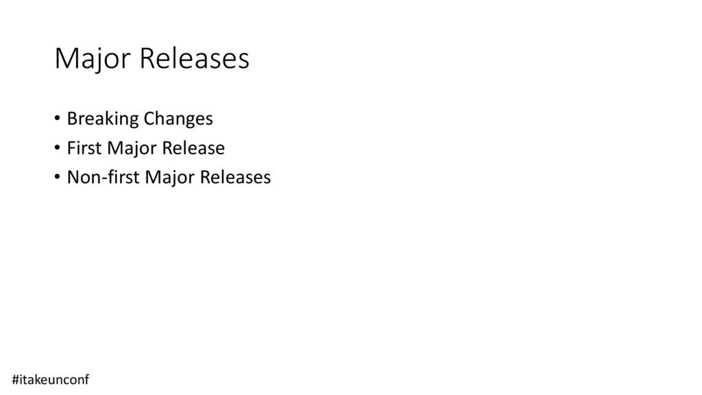 Major Releases • Breaking Changes • First Major...