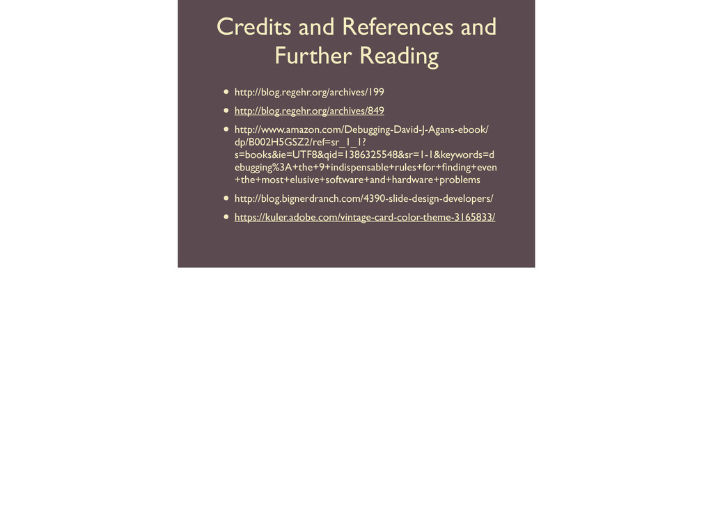 Credits and References and Further Reading • ht...
