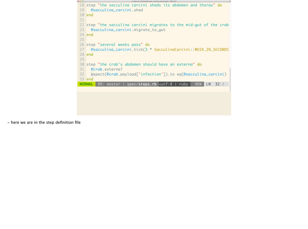 - here we are in the step definition file