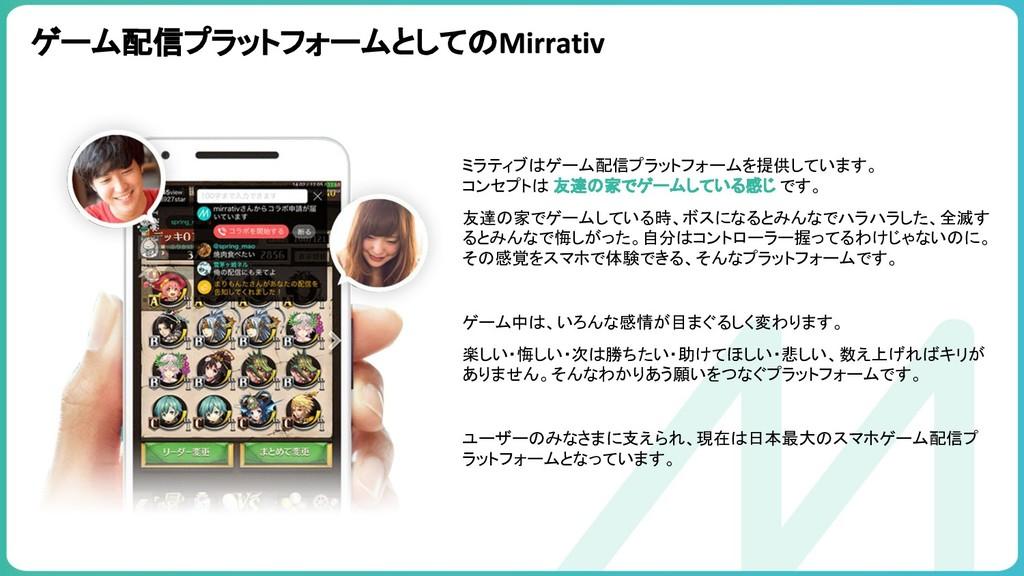 ゲーム配信プラットフォームとしての ミラティブはゲーム配信プラットフォームを提供しています。 ...