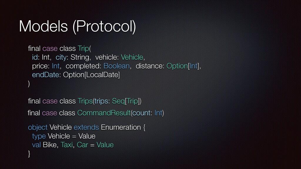 Models (Protocol) final case class Trip( id: Int...