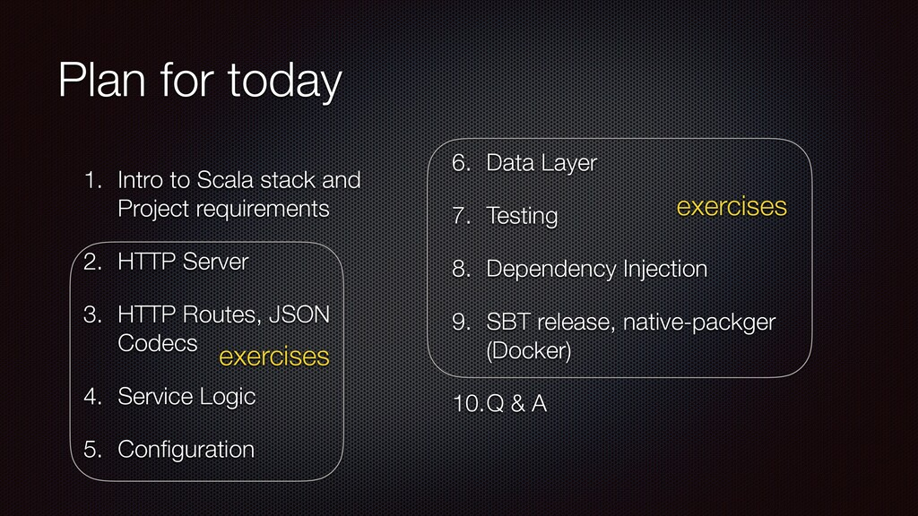 Plan for today 1. Intro to Scala stack and Proj...