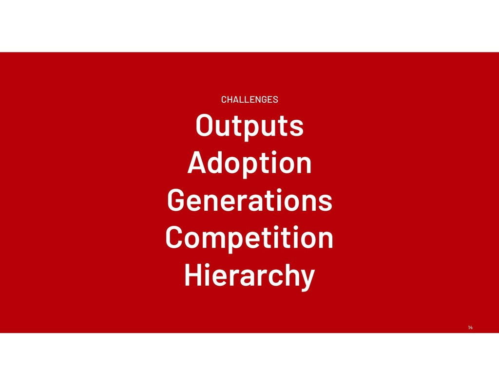 14 CHALLENGES Outputs Adoption Generations Comp...