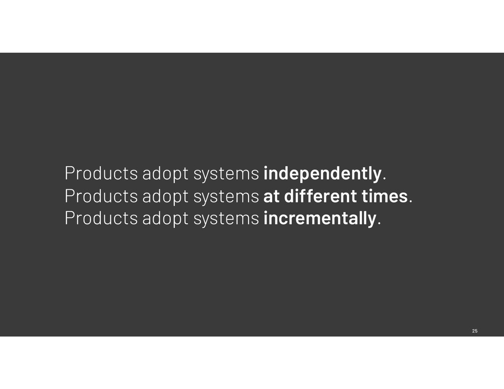 25 Products adopt systems independently. Produc...