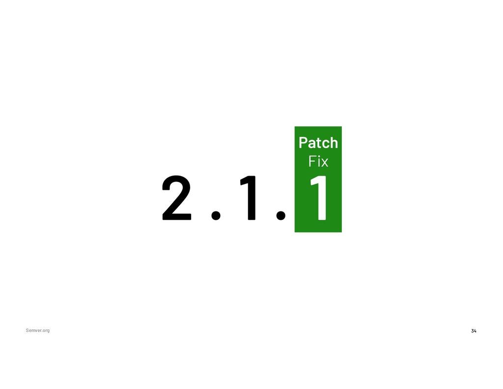 0 34 Patch Fix Semver.org 2 1 1 . .
