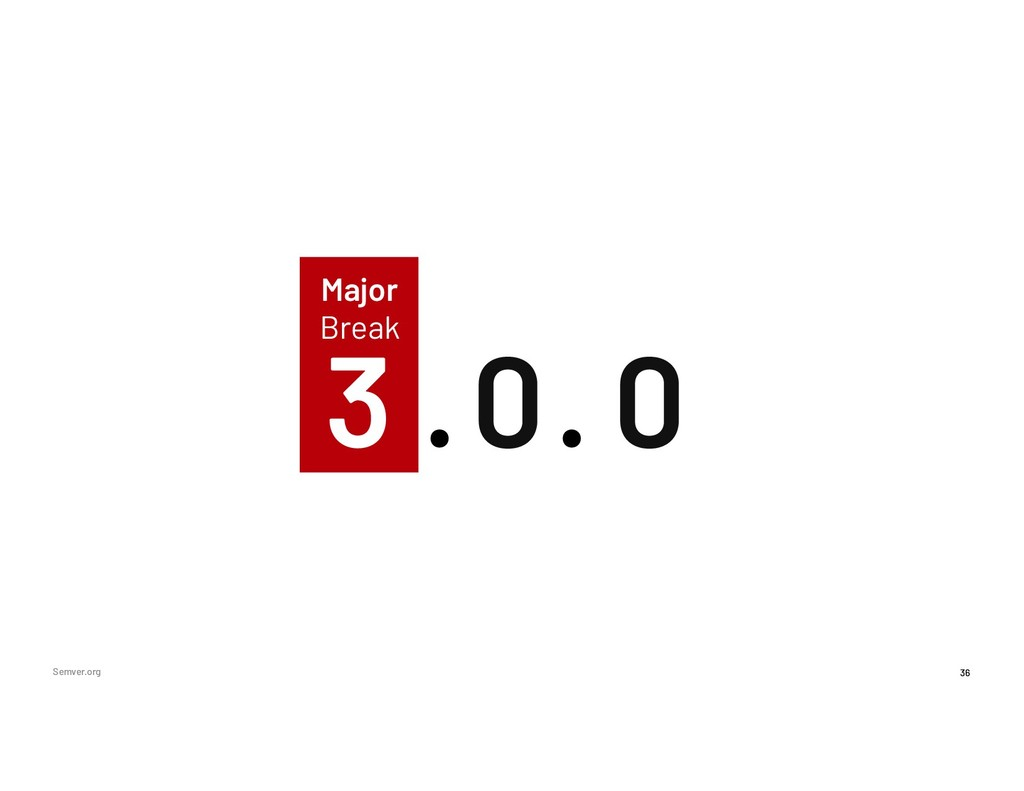 2 0 36 Major Break Semver.org 3 0 . .