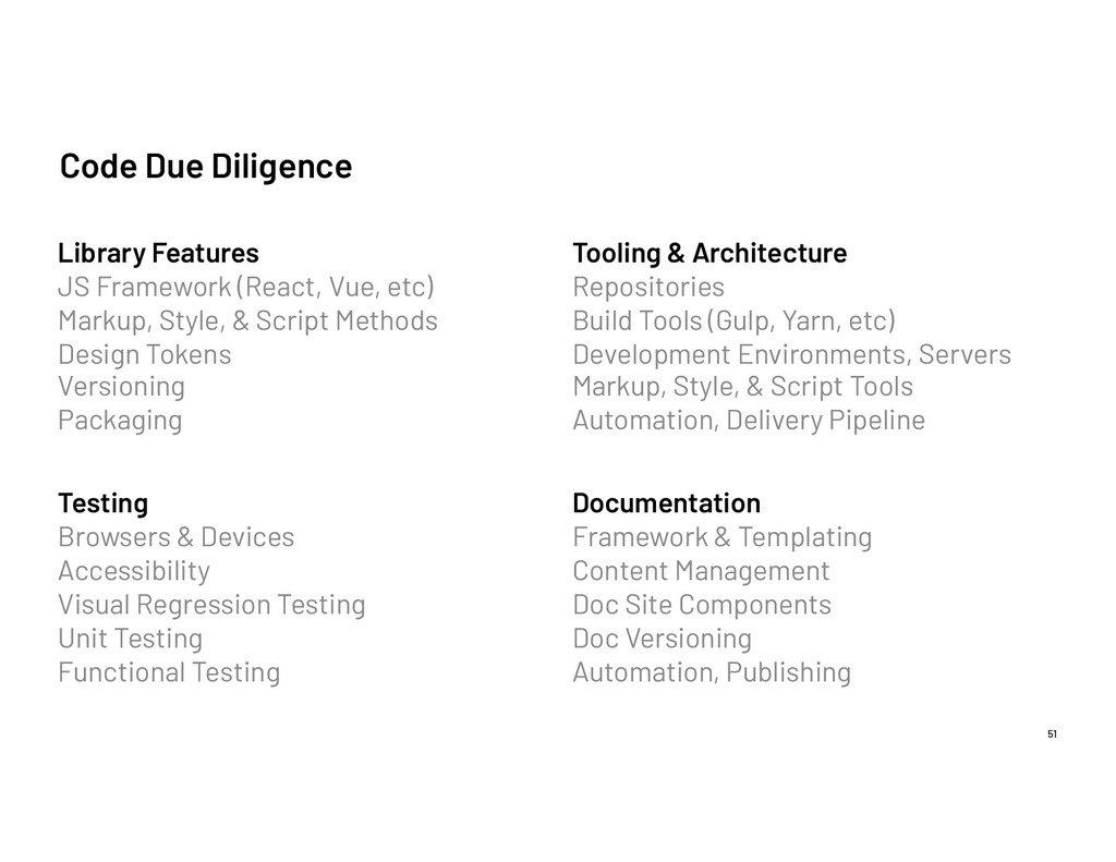 Code Due Diligence 51 Library Features JS Frame...