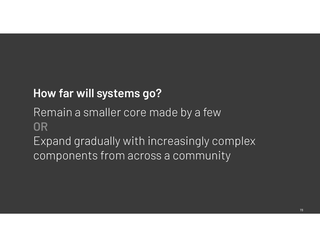 73 How far will systems go? Remain a smaller co...
