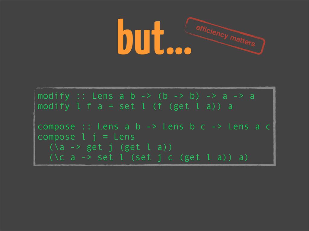 but… modify :: Lens a b -> (b -> b) -> a -> a m...
